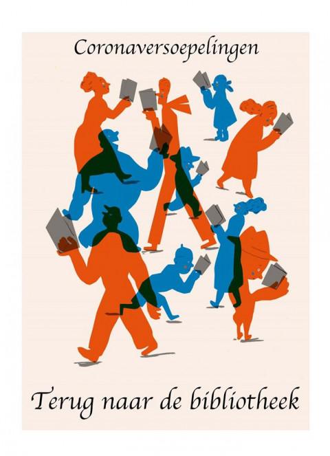 illustratie Gerda Dendooven Corona Terug naar de bibliotheek